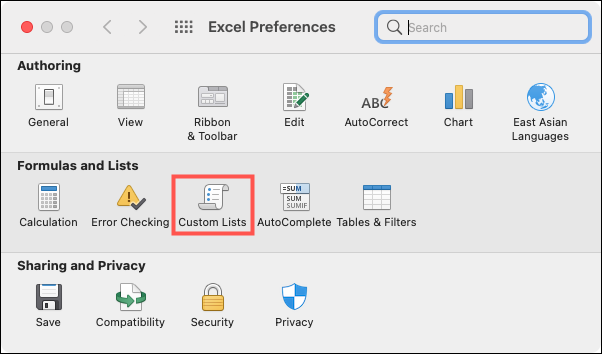 Click Excel, Preferences, Custom Lists