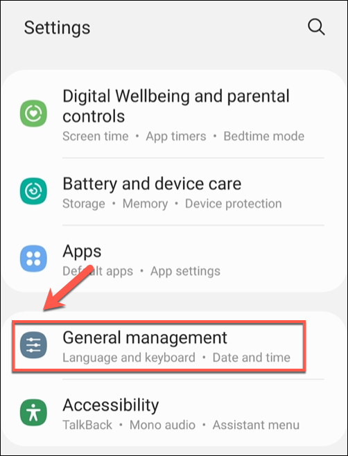 "In the ""Settings"" menu, tap the ""General Management"" option."