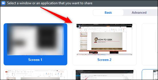 Screen select window