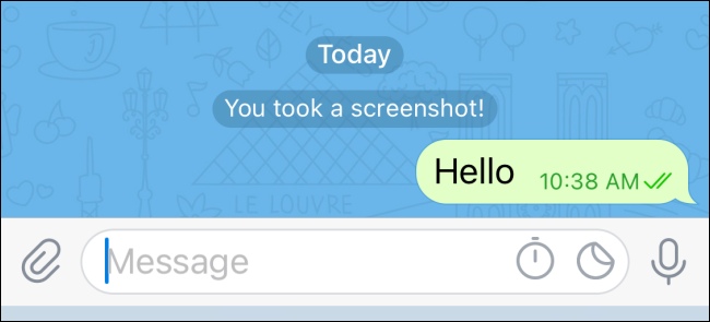 A notification that a screenshot has been taken of the encrypted chat