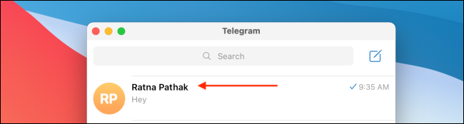 Select Chat for Contact on Telegram on Mac