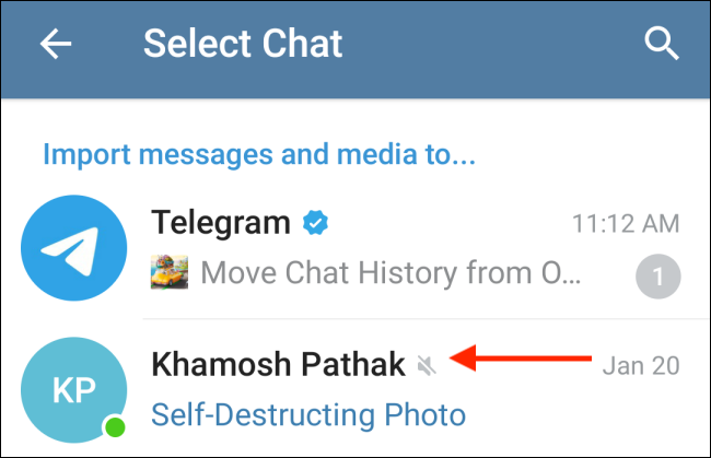Select Contact from Telegram