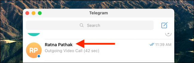 Select Conversation in Telegram Desktop