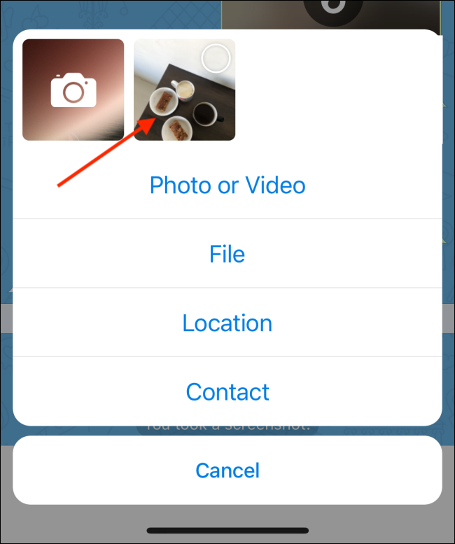 Select Photo from Attach Screen