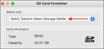 Select SD Card in SD Card Formatter App