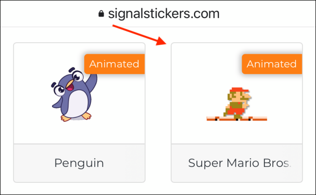 Select Sticker Pack from Signal Stickers Website