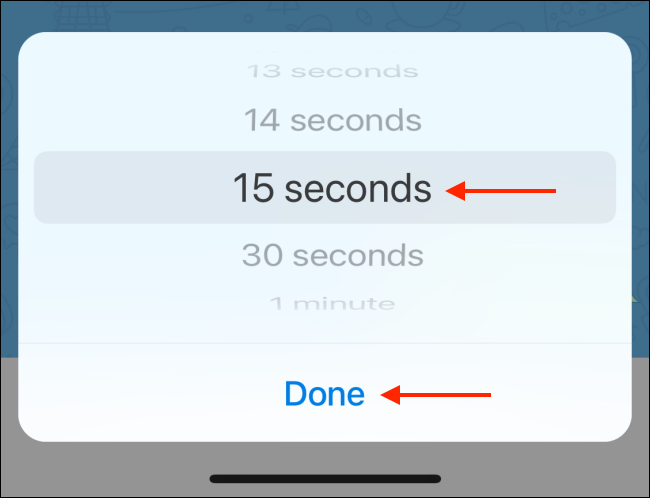 Select Timer and tap Done on iPhone