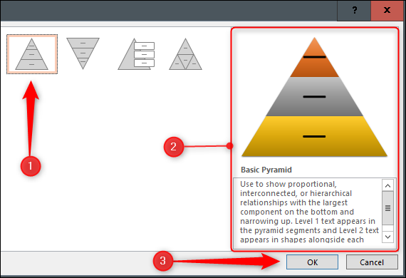 Select and insert a Pyramid