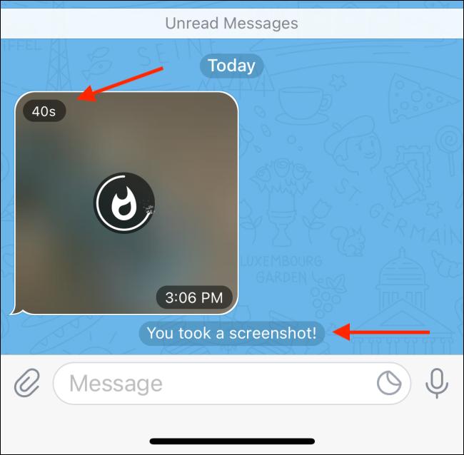 Self Destructing Photo Preview in Telegram