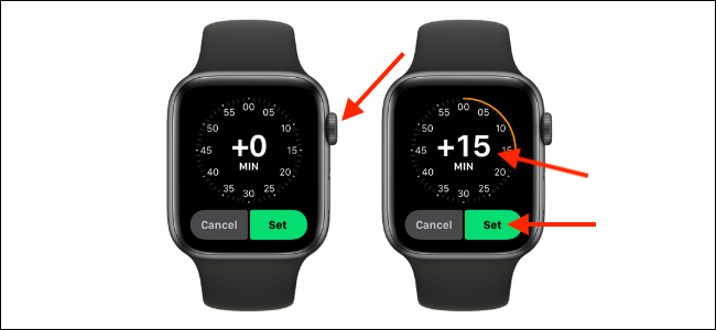 Set The Apple Watch Time Ahead and Tap Set