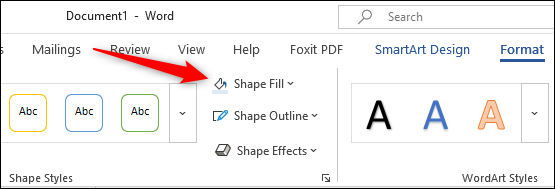 Shape Fill option in format tab
