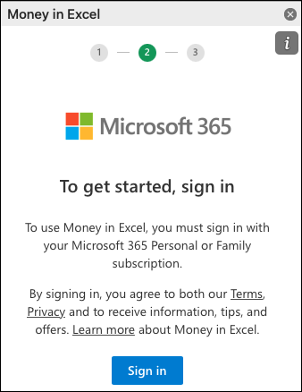 Sign into Money in Excel