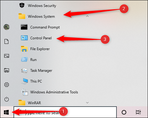 Start menu's Windows System
