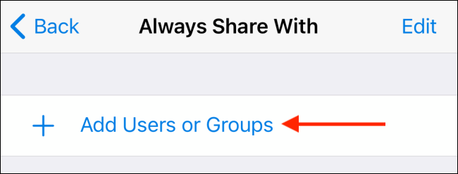 Tap Add Users from Always Share With in Telegram for iPhone