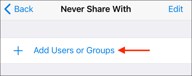 Tap Add Users from Never Share With in Telegram for iPhone