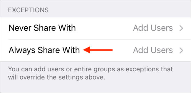 Tap Always Share With in Telegram for iPhone