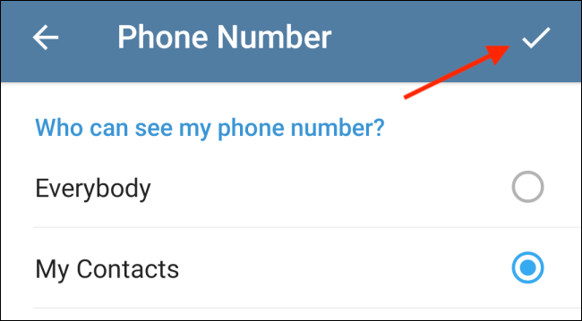 Tap Checkmark to Save Settings in Telegram for Android
