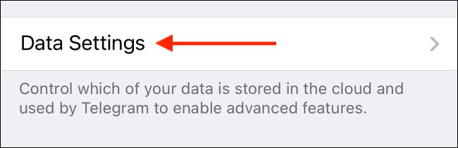 Tap Data Settings in Telegram for iPhone