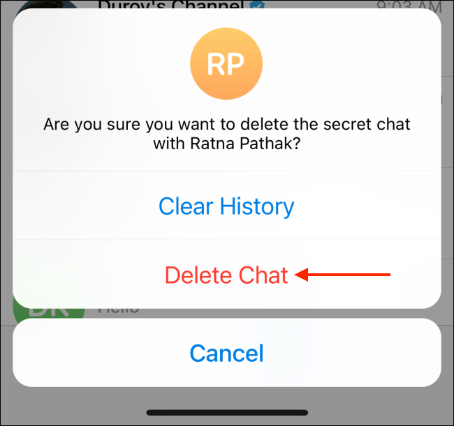Tap Delete Chat from Popup