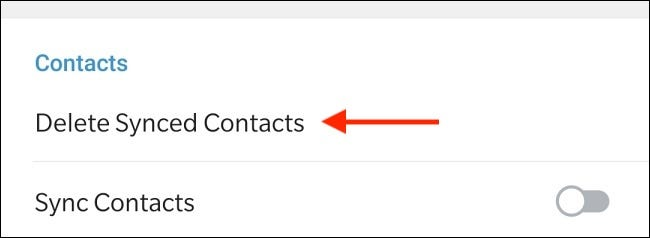 Tap Delete Synced Contacts in Telegram for Android