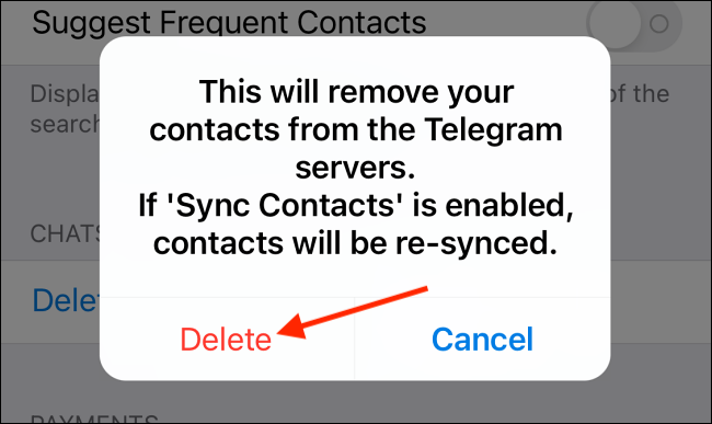 Tap Delete to Delete All Synced Contacts
