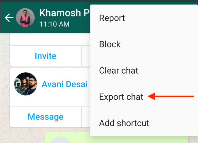 Tap Export Chat in WhatsApp
