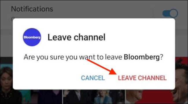 Tap Leave Channel from Popup in Android
