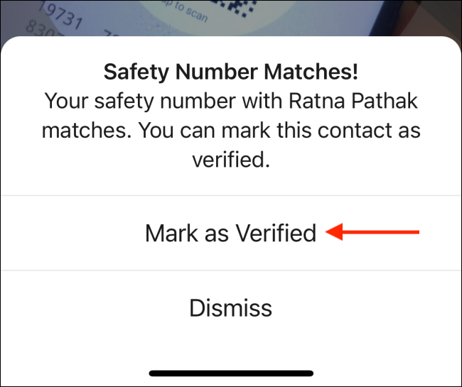 Tap Mark as Verified in Signal