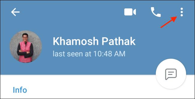 Tap Menu Button from Telegram Profile