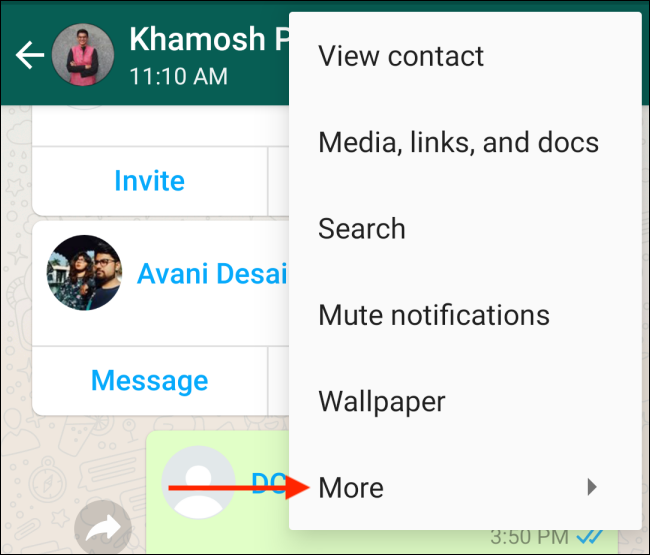 Tap More in WhatsApp