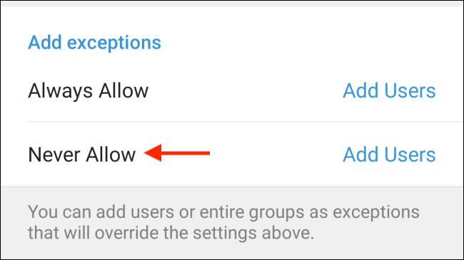 Tap Never Allow from Telegram on Android