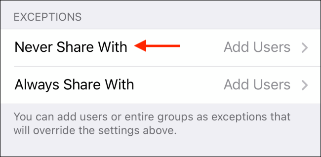 Tap Never Share With from Telegram for iPhone