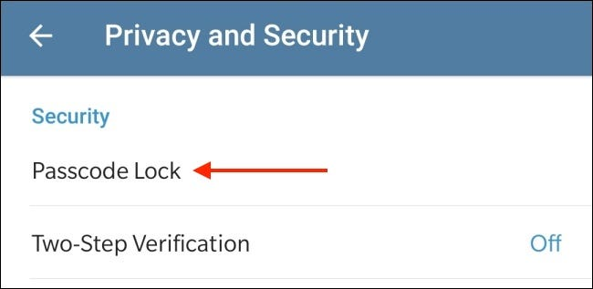 Tap Passcode Lock in Telegram for Android