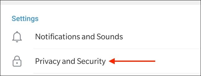 Tap Privacy and Security in Telegram for Android