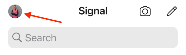 Tap Profile from Signal app on iPhone
