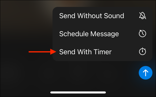 Tap Send with Timer in Telegram for iPhone