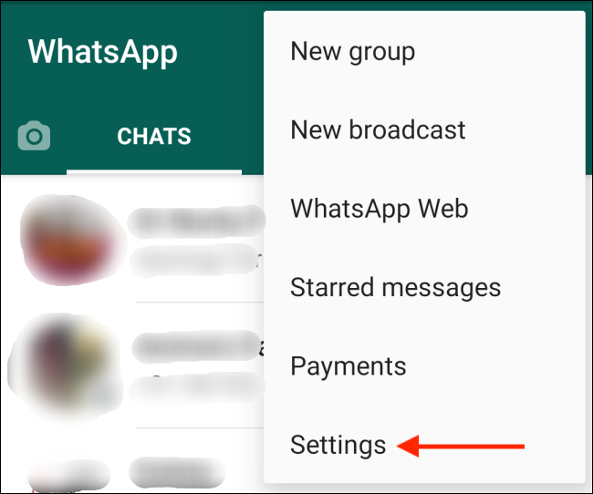 Tap Settings Option from Menu in WhatsApp for Android