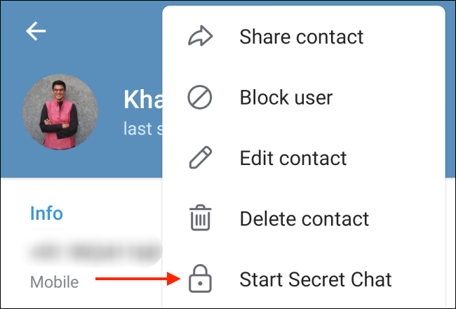 Tap Start Secret Chat on Android