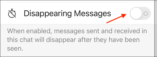 Tap Toggle Next to Disappearing Messages