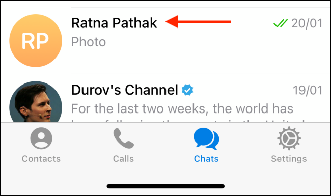 Tap the Conversation from Telegram on iPhone
