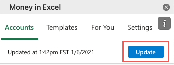 Click Update in the Money in Excel pane