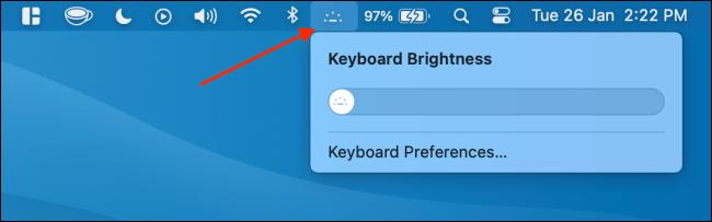 Use Keyboard Brightness Control from Menu Bar