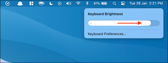 Use Slider to Increase or Decrease Keyboard Brightness
