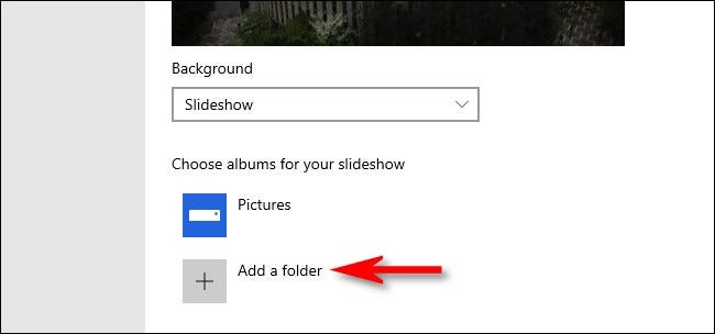 """After selecting """"Slideshow,"""" you can add a folder of images to use as a lock screen slideshow."""