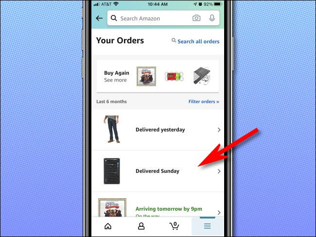 """Tap an order from the list on the """"Your Orders"""" page to see it in more detail."""