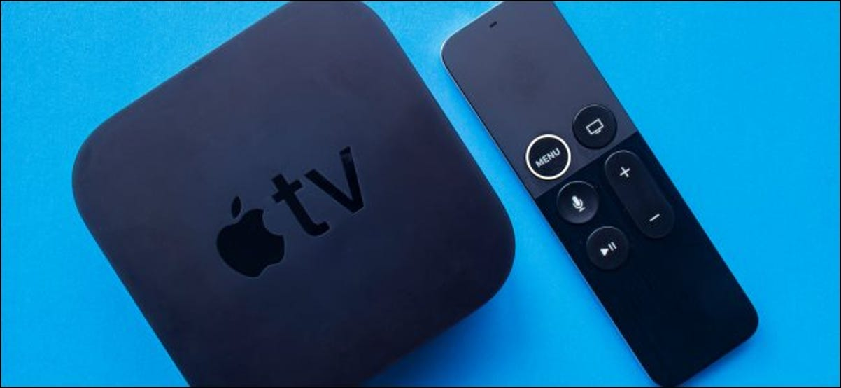 An Apple TV and its remote.