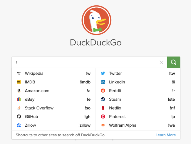 Using Bangs in DuckDuck Go to search specific websites