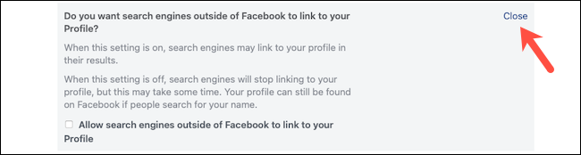 Click the Close button to save search engine setting on Facebook