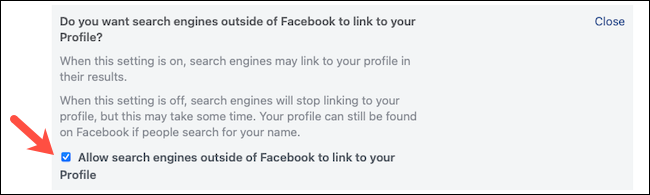 Uncheck search engine setting on Facebook