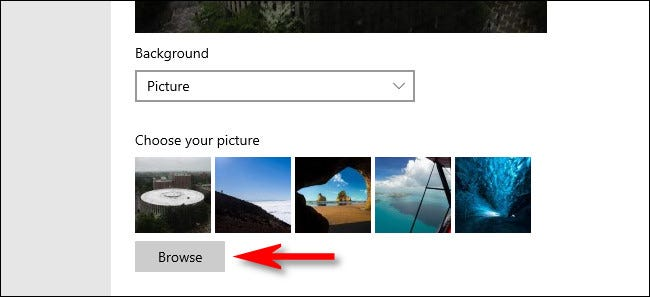 """After selecting """"Picture,"""" you can browse fror a custom image to use as a lock screen background."""